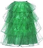 DYS Women's Tea Length Waterfall Tiered Layered Mesh Party Skirt Petticoat Long Hunter XXL/3XL