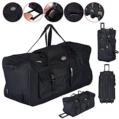 """36"""" Rolling Wheeled Tote Duffle Bag Carry On Luggage Travel Suitcase Black Durable Material And Solid Construction Great Volume Capacity"""