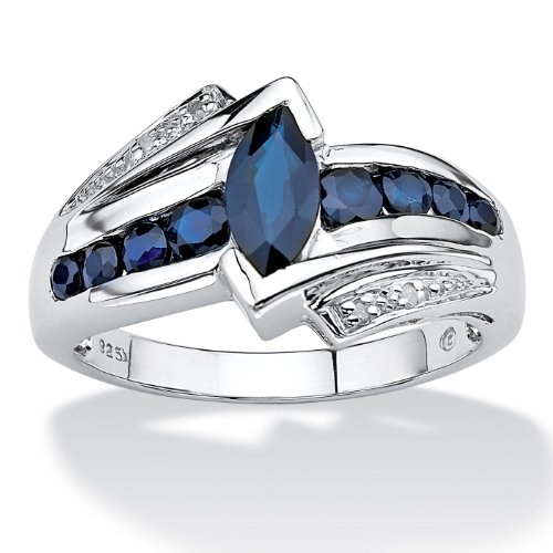 Marquise-Cut Genuine Midnight Blue Sapphire Platinum over .925 Sterling Silver Ring (Genuine Marquise Sapphire Ring)