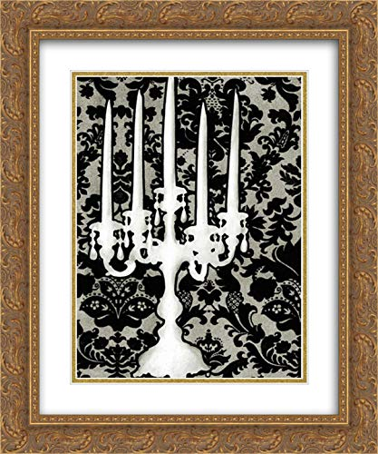 Small Patterned Candelabra II 20x24 Gold Ornate Frame and Double Matted Art Print by Harper, Ethan