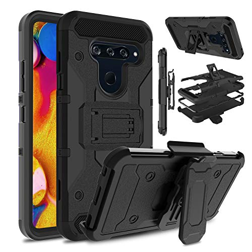 Venoro Compatible LG V40 Case, LG V40 ThinQ Case, Heavy Duty Shockproof Protection Case Cover with Belt Swivel Clip and Kickstand Compatible with LG V40/LG V40 ThinQ (Black)