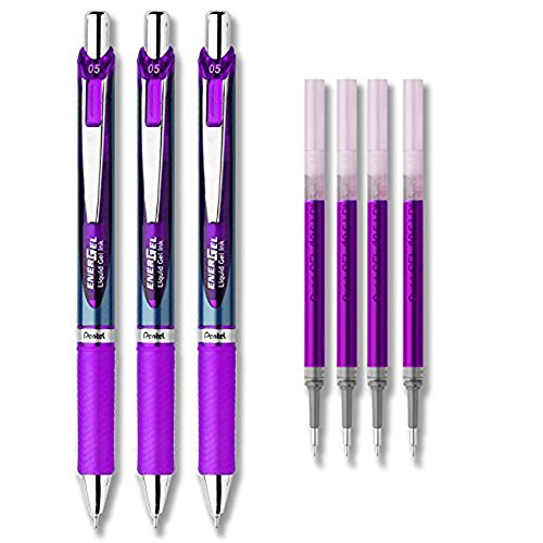 (Pentel EnerGel Deluxe RTX Liquid Gel Ink Pen Set Kit, Pack of 3 with 4 Refills (Violet - 0.5mm))