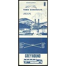 Greyhound Bus Thru Schedule Timetables Memphis Gateway 6/16 1962