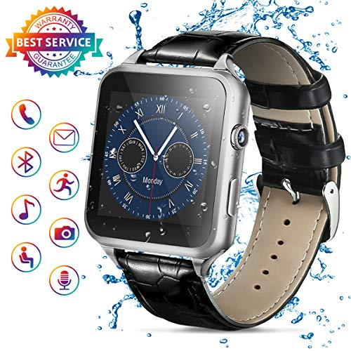 Smart Watch,Bluetooth Smartwatch Touch Screen Smart Phone Watch Android Smartwatch with Camera/SIM Card Slot Waterproof Bluetooth Smart Watch for Android Phones iOS iPhone Samsung Men Women Black
