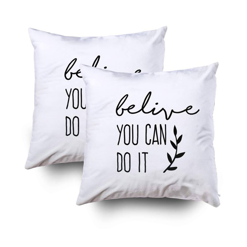GROOTEY Decorative Cotton Square Set of 2 Pillow Case Covers Zippered Closing Home Sofa Decor Size 16X16Inch Costom Pillowcse Throw Cover Cushion,Minimal Quote Poster