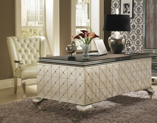 Hollywood Swank Cavier Desk with Metal Cabriole Legs - Aico Office Furniture