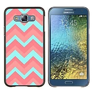 Patrón trullo Rosa claro Limpio- Metal de aluminio y de plástico duro Caja del teléfono - Negro - Samsung Galaxy E7 / SM-E700