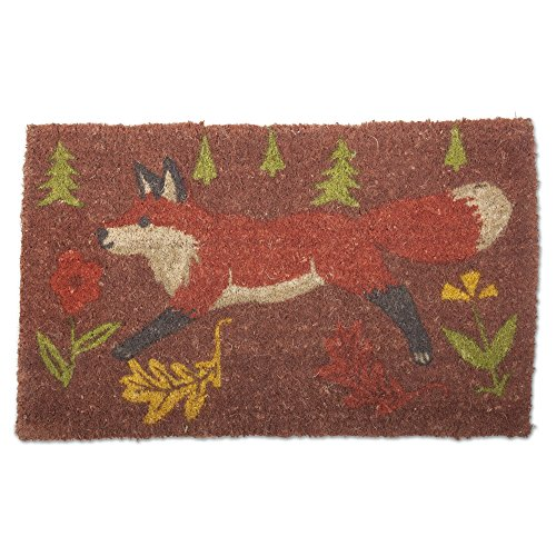tag - Forest Fox Coir Mat, Decorative All-Season Mat for the Front Porch, Patio or Entryway, Brown