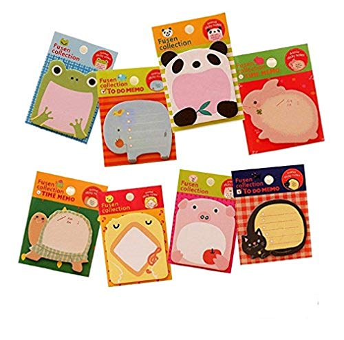 Aimeio Creative Cute Cartoon Animals Sticky Notes Memo Self-Stick Notes Paper Marker(20 Sheets/Pad,8 Pad/Pack)