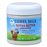 Camel Life / Camel Milk Tattoo Butter - Unscented / Tattoo moisturizing treatment butter / naturally protective restorative proteins / non-greasy Shea butter formulation / 3.9 oz tub