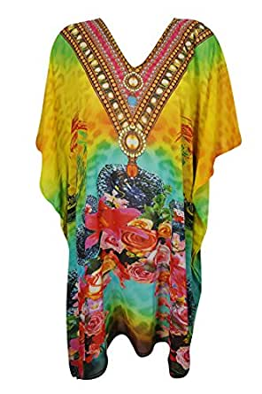 Bohemian Chic Designs Womens Caftan Digital Printed Georgette Kaftan Dress One Size, Yellow, Blue