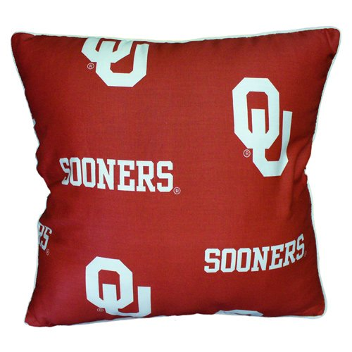College Covers Oklahoma Sooners Decorative Pillow, 16'' x 16'', Includes 2 Decorative Pillows