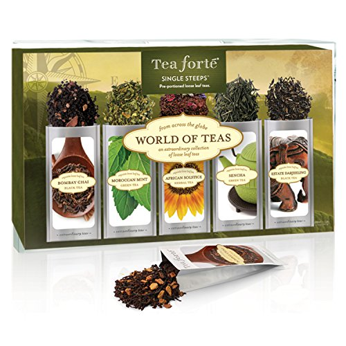 Tea Forte WORLD OF TEAS Sing Steeps Loose Leaf Tea Sampler 15 Single Serve Pouches - Green Tea Herbal Tea Black Tea