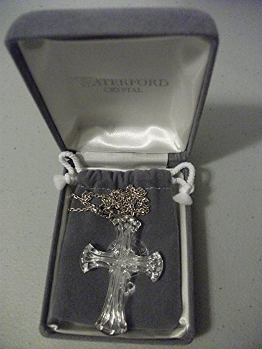 NIB WATERFORD CRYSTAL CROSS NECKLACE W/ STERLING CHAIN by Waterford