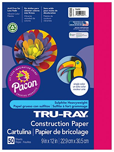 Pacon Tru-Ray Construction Paper, 9-Inches by 12-Inches, 50-Count, Scarlet (103008)