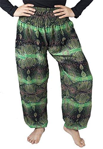 Lofbaz Donna Harem Colorato Smocked Waist Boho Pantaloni Yoga Pilates Oval Verde