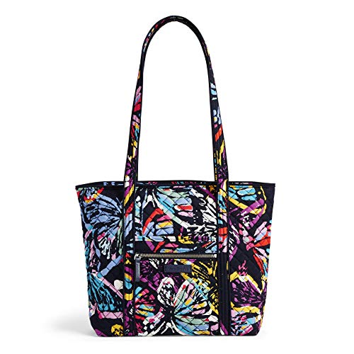 Vera Bradley Iconic Small Vera Tote, Signature Cotton, Butterfly Flutter, - Zip Butterfly Handbag Top