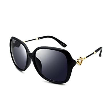 BVAGSS Fashion Retro Sonnenbrille Damen 100% UV-Schutz(WS008) (Black) sPxavT