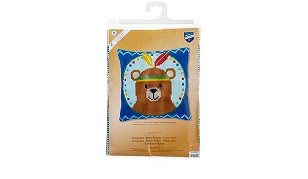 Vervaco PN-0155334 Oso de Peluche con Plumas coj/ín de Punto de Cruz