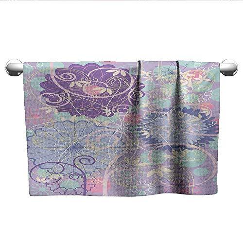alisoso Floral,Decorative Bathroom Towels Spring Nature Theme Ornamental Flowers Dandelions Leaves Swirls Curvy Design Artwork Bathroom Hand Towels Multicolor W 14