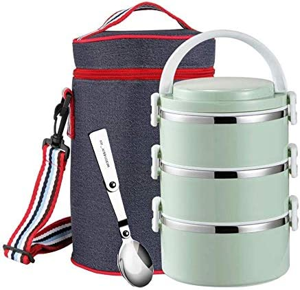 Tiers Round  Stainless Steel Thermal Insulated Lunch Box Bento Food Container 3