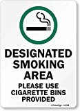 """SmartSign by Lyle S-9708-PL-14 """"Designated Smoking Area, Use Cigarette Bins"""" Plastic Sign with Graphic, 14"""" x 10"""", Black/Green on White"""
