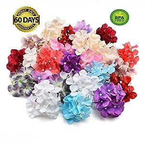 fake flowers heads Bulk Silk Hydrangea Handmade Artificial Flower Head Wedding Party Home Decoration DIY Wreath Gift Box Scrapbook Craft 20pcs About 3.9 Inch (Multicolor) 17