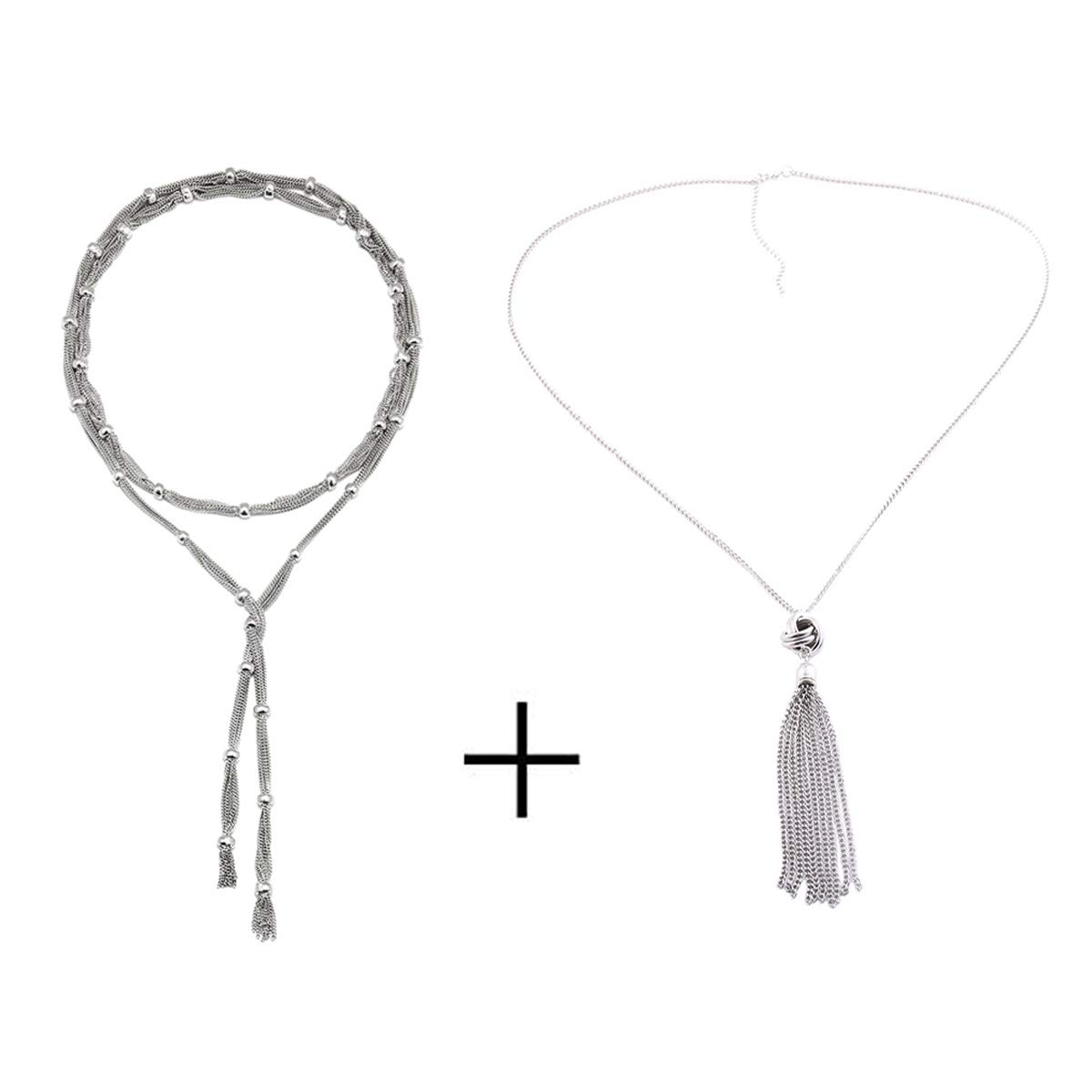 Long Chain Tassel Necklace Silver Tone Lovely Knot Tassel Pendant Pendant Necklace Knot Sweater Y Necklace for Women