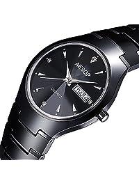 Gosasa Men's Black Ceramic with Diamond Marks Stiletto Blade Calendar Quartz Watch