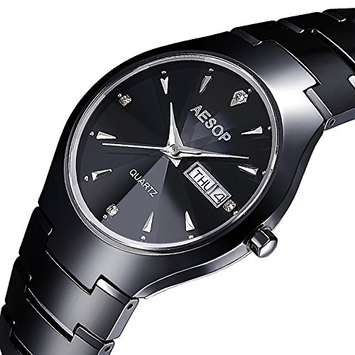 Stiletto Diamond Watch - Gosasa Men's Black Ceramic with Diamond Marks Stiletto Blade Calendar Quartz Watch