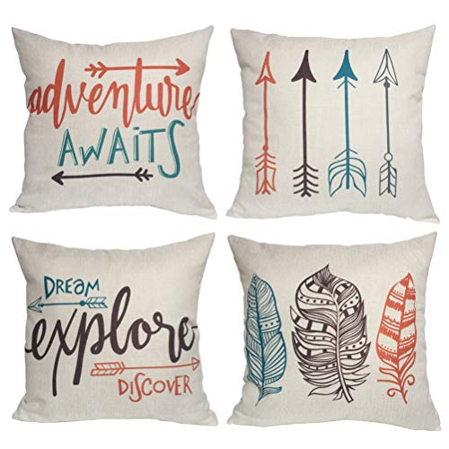 s Throw Pillow Case Inspirational Quote Cushion Cover Home Decorative Square Pillowcases 18×18 Inch,4pack(Adventure Awaits,Dream Explore Discover, Ethnic Arrows, Feathers) ()