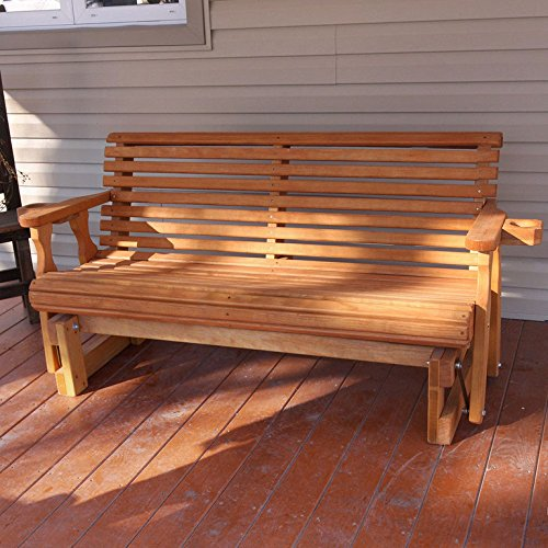 Amish Heavy Duty 800 Lb Roll Back Pressure Treated Porch Glider With Cupholders (5 Foot, Cedar (Cedar Glider Bench)