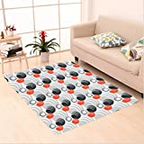 Nalahome Custom carpet Sized Creepy Colorful Circles Weird Rounds Graphic Print Modern Decorative Art Black Orange Gray area rugs for Living Dining Room Bedroom Hallway Office Carpet (4′ X 6′) For Sale