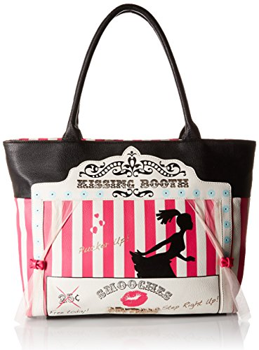 Betsey Johnson Kitch Kissing Booth Tote Bag Black One Size