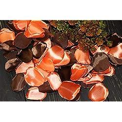 Hot Orange Leaves, Set of 100, Fall Wedding, Dark Brown Rose Petals, Orange Rose Petals, Garden Wedding, Chocolate Wedding, Halloween Decoration, Tossing Petal