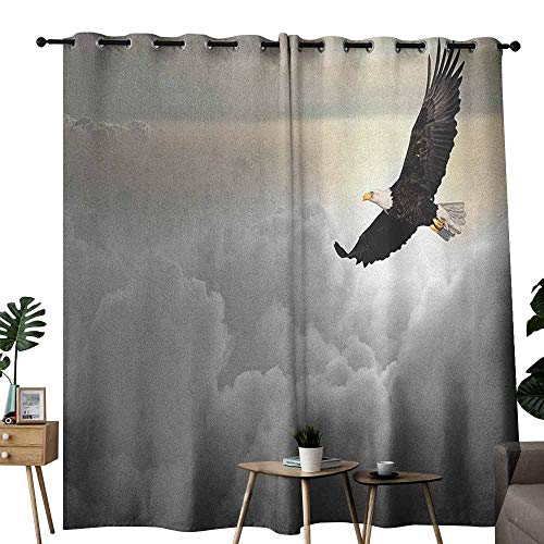 - duommhome Eagle Windshield Curtain Majestic Creature Flying Above Clouds Liberty Democracy and Freedom Privacy Protection W108 x L96 Pale Grey Pale Yellow Black