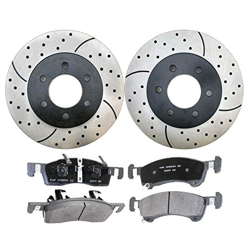 Prime Choice Auto Parts SCDPR6410164101934 Pair of Drilled and Slotted Rotors and Premium Ceramic Brake Pads -