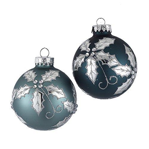 Kurt Adler 65mm Soft Blue and Silver Holly Design Glass Ball Ornaments, 4-Piece Box Set