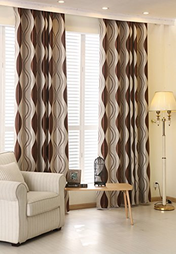 LQF Window Treatments Room Darkening Thermal Insulated Blackout Corrugated Jacquard Grommet Window Curtain for Living Room , (1 Panel) , Brown , W75 by L96 inch