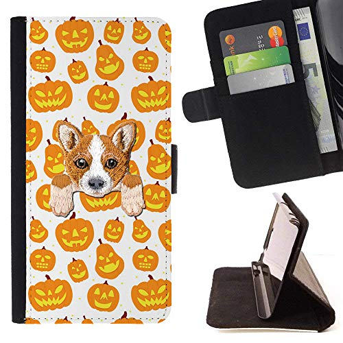 [ Welsh Corgi ] Embroidered Cute Dog Puppy Leather Wallet Case for LG K4 (2017) / LG K8 (2017) / LG Aristo/LG Phoenix 3 / LG Risio 2 / LG Fortune [ Orange Halloween Pumpkin Pattern ] ()