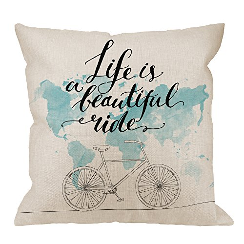HGOD DESIGNS Bicycle Pillow Case,Quotes Life is a Beautiful Tide Cycling Picture with World Map Cotton Linen Cushion Cover Square Standard Home Decorative for Men/Women 18x18 inch Blue