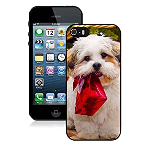 Custom Design Christmas Dog With Red Gift Box Black Phone Case For Iphone 5s,Iphone 5 TPU Case,Apple Iphone 5s
