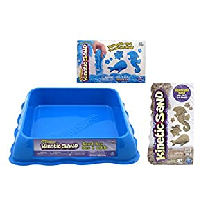 Kinetic Sand GIFT SET! Includes 1/2 lbs of Neon BLUE Sand & 1.5 lbs of BROWN Sand and Neon Blue Sand Box - 51RNcS 2BrHAL - Kinetic Sand Gift Set! Includes 6 oz. of Neon Blue Sand & 3 lbs of Kinetic Beach Sand and Neon Blue Sand Box