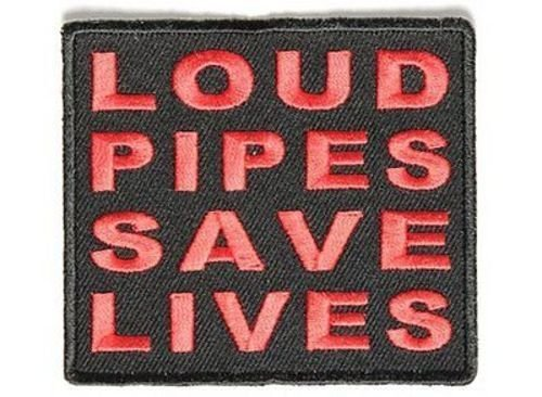 Loud Pipes Save Lives RED MC Club Funny Motorcycle NEW Biker Vest Patch PAT-3510