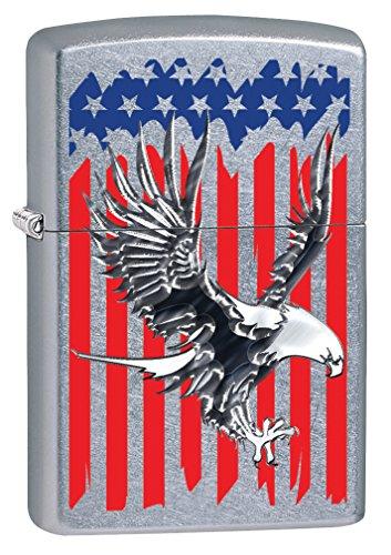Zippo Custom Lighter: Bald Eagle on American Flag - Street Chrome 78714