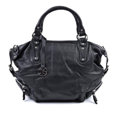 BACCINI bolso de mano MICA: cartera con asas cortas para mujer XL - estilo tote-bag de cuero negro - (50 x 37 x 22cm)