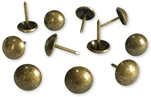 500pcs a lot: D11mmxL17mm Brass(Old Gold) Plated Sofa Upholstery Tacks Wooden Furniture Decorative Tacks Thumb Nails Home DIY Upholstery Nails Heads (Brass(Old Gold))