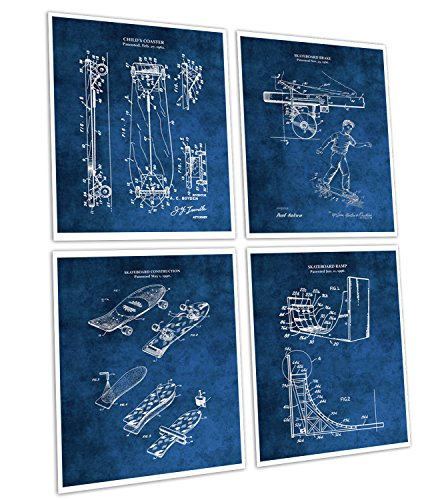 Gnosis Picture Archive Skateboarding Home Decor Set of 4 Unframed Skateboard Art Prints in Blue For Boys Room Decor Patents_Skateboard_Blue4A