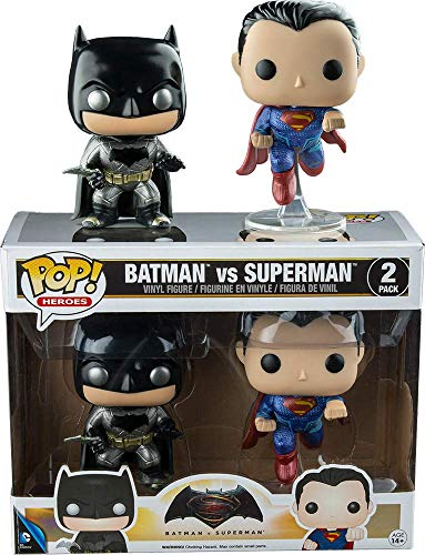 Funko, 7005 – Batman vs Superman 2 Figuras Pop Vinyl, en version metalica