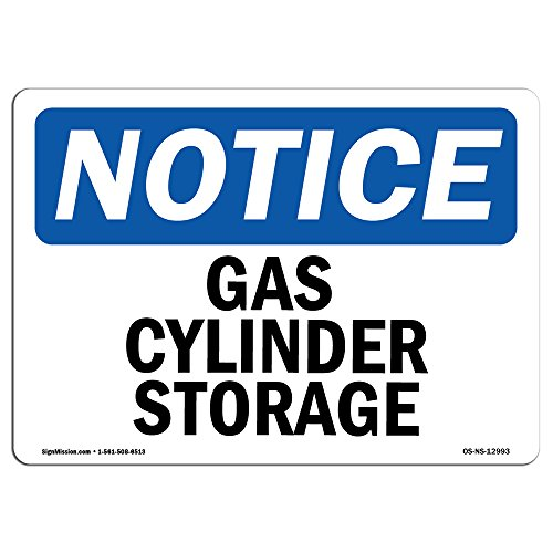 OSHA Notice Sign - Gas Cylinder Storage | Vinyl Label Decal | Protect Your Business, Construction Site, Warehouse & Shop Area |  Made in The USA
